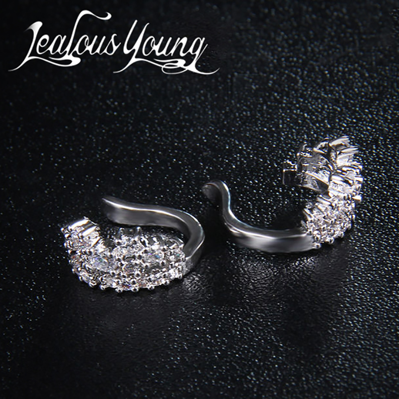 Mode 1ct Cubic Zirconia Anting Klip Pernikahan Anniversary Perhiasan - Perhiasan fashion - Foto 4