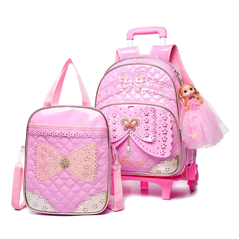 2PCS/SETS PU Girls Cartoon Princess School Bag Children School Bags 6 Wheels Child Climb Stair Removable Trolley Backpack рюкзак child backpack 1 3 pu