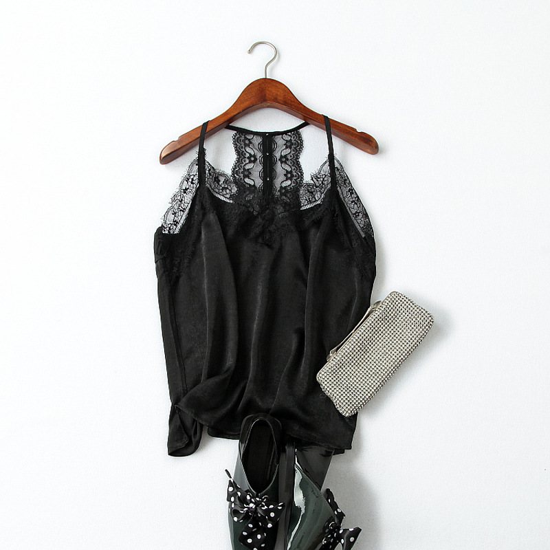 Women Tops Summer 2019 New Sexy V Neck Fashion Lace Edge Patchwork Loose Basic Black Camis Female S L in Camis from Women 39 s Clothing