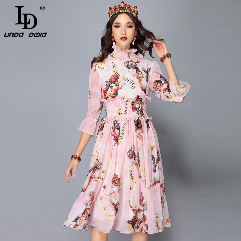 Vestito In Autunno 2018 Stampato Vita Donne Ld Elegante Di Modo Chiffon Multi Delle Elastico Della 3 4 Pista Vestido Angelo Del Linda Manicotto xEwEIqUZaz
