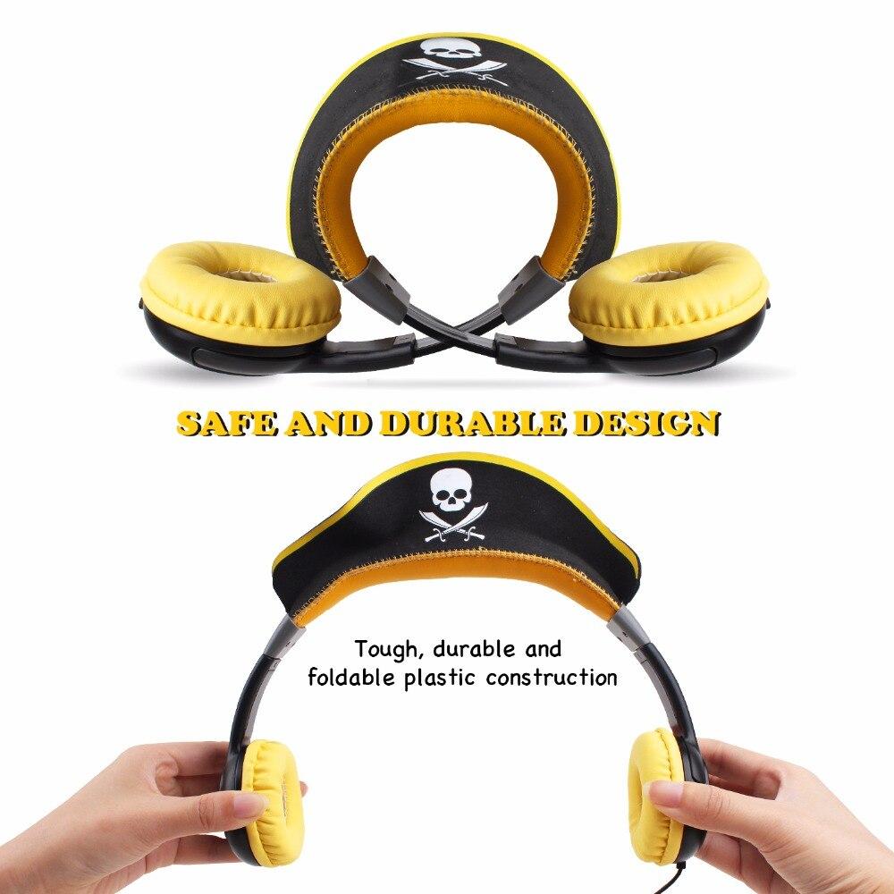 Oneodio детей наушники складные пират Дизайн Наушники для Обувь для мальчиков желтый 3.5 мм Over-Ear игровая гарнитура для Рождественский подарок