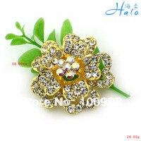P877 012 10PC Lot Gold Brooch Fashion Crystal Rhinestone Rhinestone Flowers Large Safety Pin