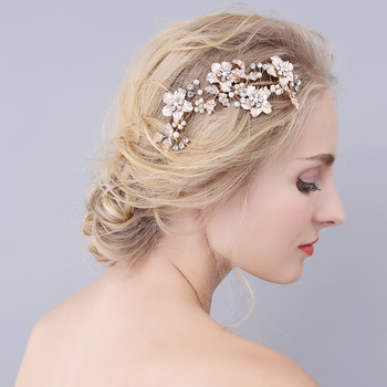 Gorgeous Golden Flower Leaf Rhinestones Pearls Wedding Hair Comb Bridal Headpieces