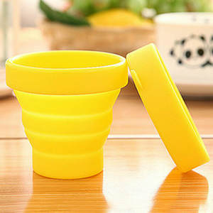 Silicone Folding Cup with Lid Collapsible Travel