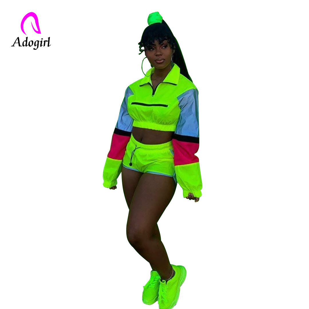 Adogirl Neon Reflective Women Tracksuit Fitness 2 Pieces Sets Autumn Full Sleeve Zipper Turtleneck Tops And Biker Shorts Suits