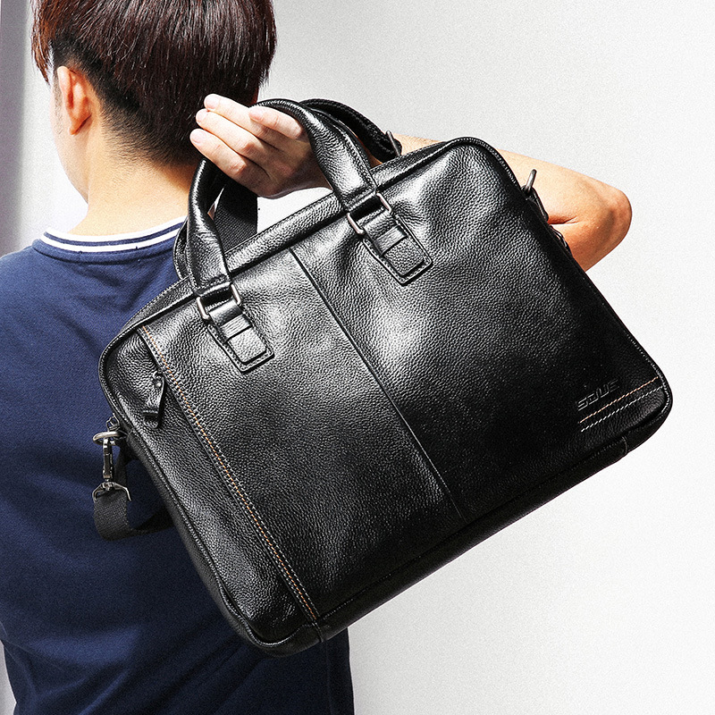 Wishehappy 100% Genuine Leather Briefcase Men Bag Business Handbag 14 Inch Laptop Shoulder Bags Tote Natural Skin Men Briefcase