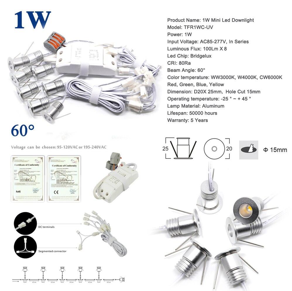 8PCS/Set 1W Mini Led Bulb Light 15mm 80Ra Cabinet Stair Spotlight New Year House Mall Ceiling Spot Lighting 60/100 Beam Lamp toshiba 00101315010b 60 40 2700k 80ra nd 1 pk