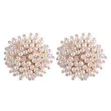 Korean Elegant Imitation Pearl Stud Earrings For Women Temperament  Flower Pattern Piecing Brincos Wedding Bridal Jewelry Bijoux