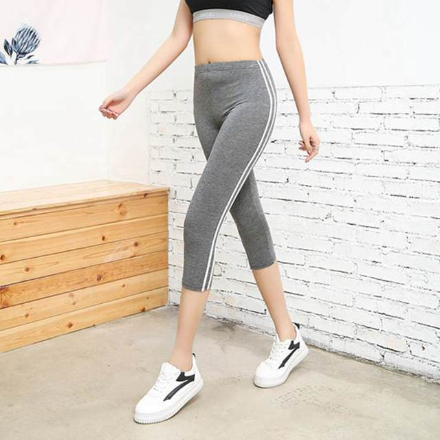 women summer large size 50 XXL slim fitted capris lady active stripe outer skinny modal short pants cool comfort stretch pant Pants & Capris