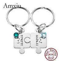 Amxiu Two Pieces 100% 925 Sterling Silver Key Chains Zircon Puzzle Jewelry Custom Names KeyChains For Women Men Keys Accessories
