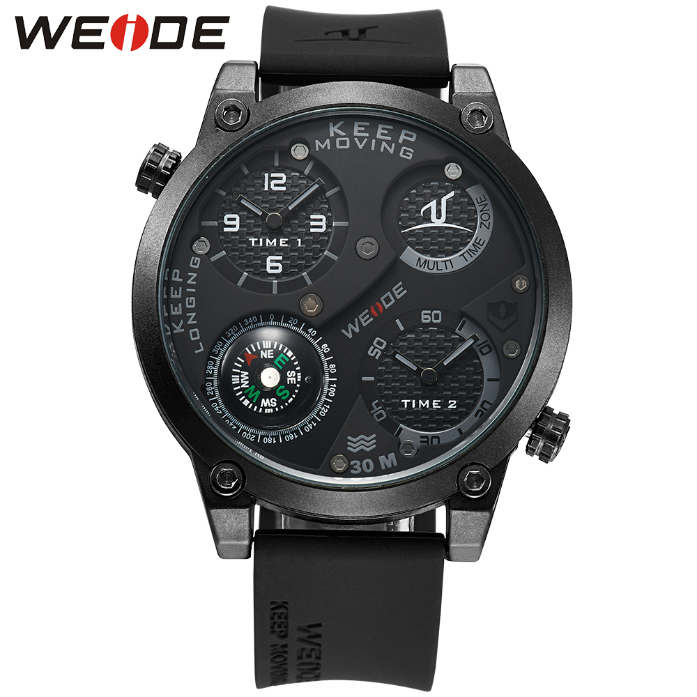 WEIDE Mens Watches Top Brand Luxury Analog Quartz Sports WristWatch Dual Time Compass Clock Men Military Watch Relogio Masculino weide wh2309b military sports quartz watch double movts analog digital led dual time display alarm wristwatch for men