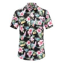 Размера плюс 5XL новые летние мужские Гавайские рубашки с коротким рукавом, хлопковые повседневные рубашки с цветочным принтом, модная мужская одежда