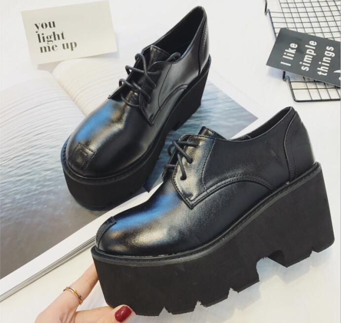 Femmes Flats Printemps forme Chaussures Plate Bout Lacets Creepers Nouveau Dames 2019 D'été Noir Plat Rond Femme À Hwp6RUqTZ