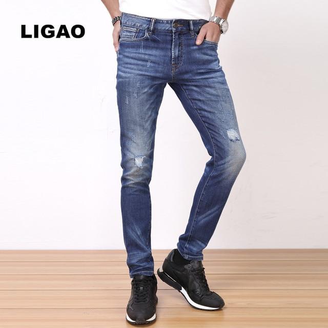 46d6a0f543a6 LIGAO Jeans degli uomini Casuali Elastico Morbido Slim Pantaloni Diritti  Dei Pantaloni Blu Denim Maschile Graffiato