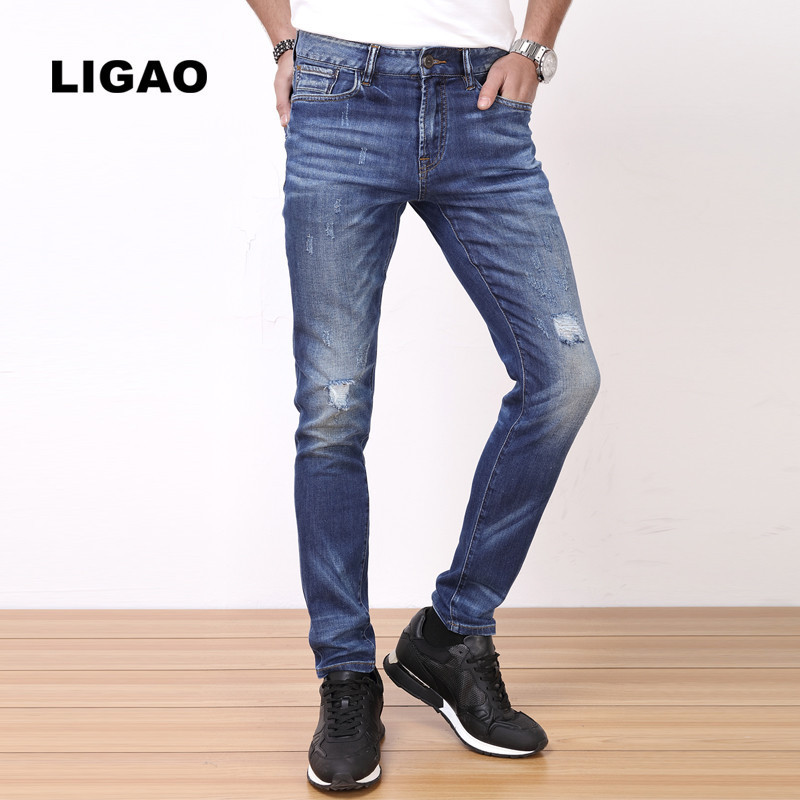 LIGAO Men s Jeans Casual Elastic Soft Slim Straight Pants font b Trousers b font Male