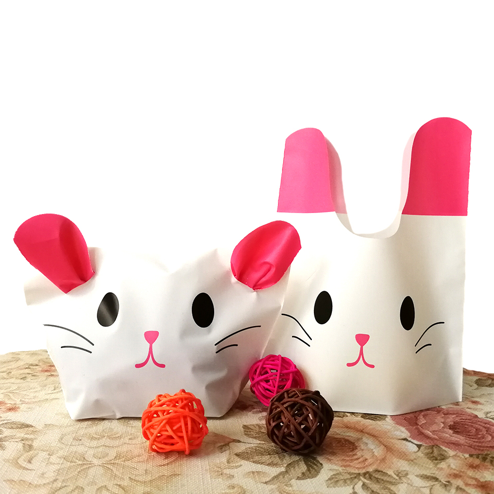 Tronzo 50pcsset easter gift bags cute rabbit black bear pink cat tronzo 50pcsset easter gift bags cute rabbit black bear pink cat ear bags happy easter party decoration birthday gift wrapping in gift bags wrapping negle Image collections