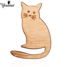 Yiustar Elegant Charming Sweet Cute Hello Cat Brooch Wood Lapel Pin Generous Charm Brooches for Women Kids Girls Family Gifts(China)