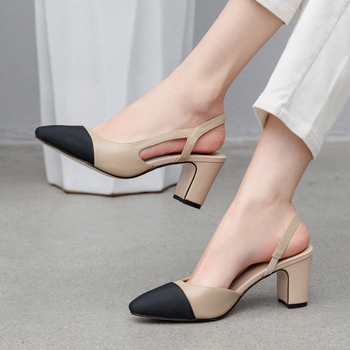 Meotina Women Slingbacks Shoes High Heels Natural Genuine Leather Thick High Heel Shoes Cow Leather Mixed Colors Pumps Ladies 40