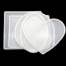 5 Stks/set Grote Ronde/Vierkant/Rechthoek/Hart/Ovale Coaster Mal Hars Siliconen Mallen Shiny Epoxy Casting voor Diy Sieraden Maken