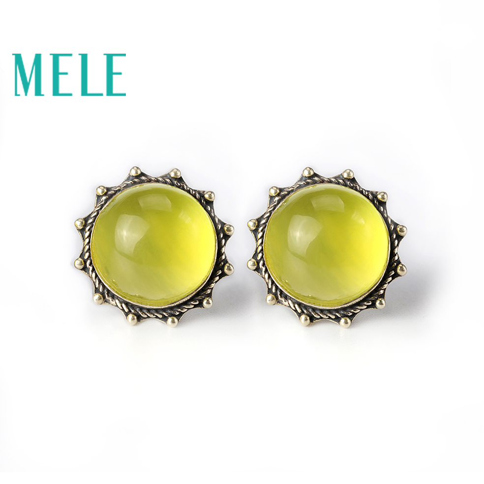 Natural prehnite 925 silver gemstone earrings for women,round flower shape, sun fashion and trendy chic ellipse shape faux gem flower earrings for women