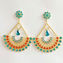 2016 New Gold Pretty Green & Ruby Crystal Pave Hollow Fan Pride Peacock Big Earrings Women Fashion Jewelry Rhinestone Earrings