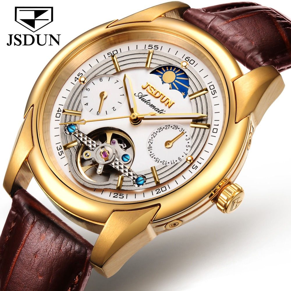 JSDUN Automatic Mechanical Watch Men Leather Moon phase Mens Watches Top Brand Luxury Classic Business Gold Male Wrist Watch NEWJSDUN Automatic Mechanical Watch Men Leather Moon phase Mens Watches Top Brand Luxury Classic Business Gold Male Wrist Watch NEW