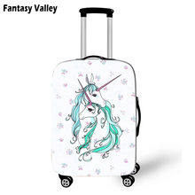 Double Cartoon Unicorn Travel Luggage Protective Cover Women Cute bagages Cover Girls Rainbow Clouds Suitcase Travel Accessories(China)