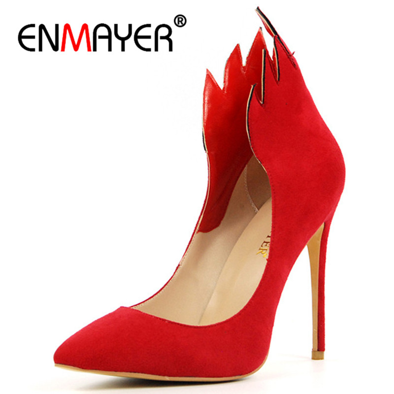 ENMAYER Fire Shoes Woman High Heels Pumps Pointed Toe Shallow Plus Size 35-46 Black Red Party Wedding Shoes Summer Top Quality enmayer pointed toe sexy black lace party wedding shoes woman high heels shallow pumps plus size 35 46 thin heels slip on pumps