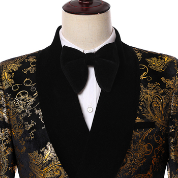 2019 Elegant Black Velvet Gold Flower Double Breasted Groom Tuxedo