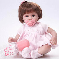 42cm Cute Girl Doll Silicone Baby Reborn Dolls with Soft Cloth Body Toys for Children Christmas Birthday Xmas Gift