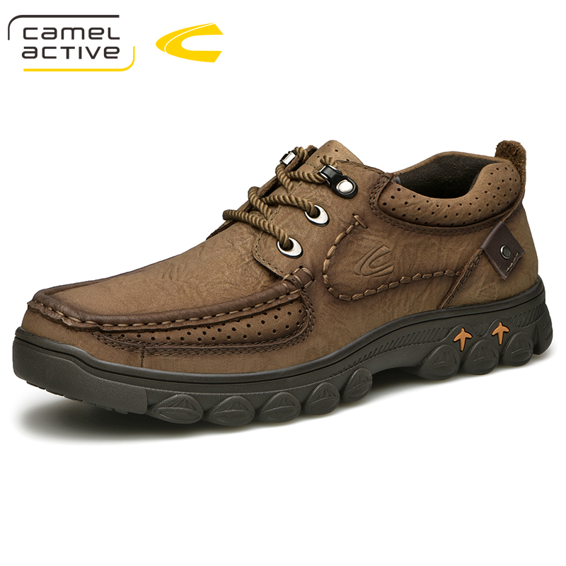 Camel Active New Genuine Leather Men Shoes Spring/Autumn Big Size Mens Casual Shoes Outdoor Sneakers Khaki Brown Footwear camel active new men genuine leather casual shoes business men shoes luxury brand spring male footwear sneakers big size shoes