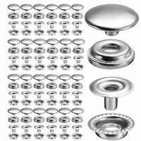 100pcs 25 Sets Stainless Steel Snap Fastener Press Button Fasteners Canvas DIY Fixing Press Studs Clothing Sewing Tool
