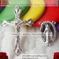 Chapeamento de prata religiosa rosário parte, centro rosário, rosário crucifixo, rosário charme, Mary Medalha Milagrosa com a itália jesus cruz