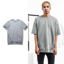 Alta calidad nueva marca de moda Justin Bieber 100% algodón gris color  sólido costura camiseta hombres streetwear Camisetas Tees. 288035c184131
