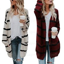 Laipelar Autumn Winter Sweaters Women Medium Long Jumpers Streetwear Fashionable Striped Knitted Cardigan Outerwear With Pocket
