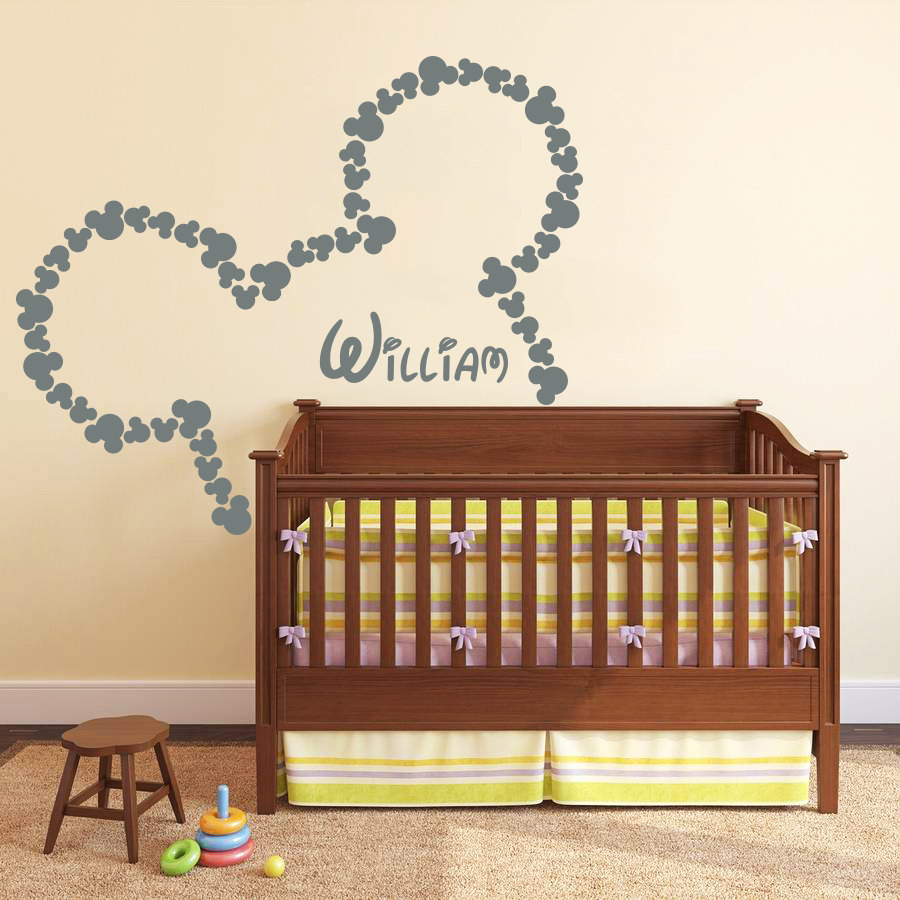 customized kids name cute bow mouse wall stickers bedroom nursery