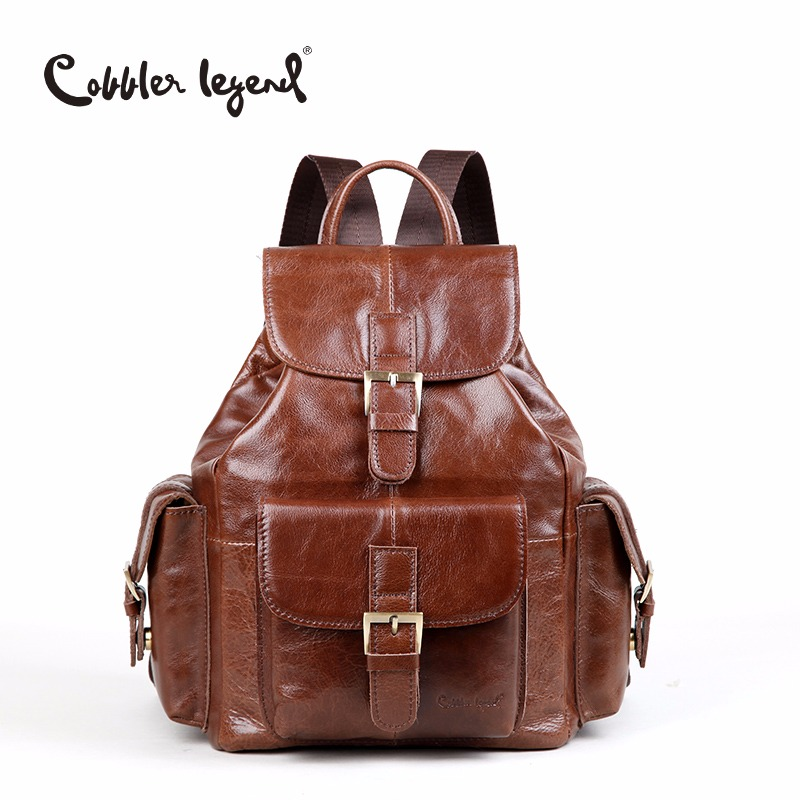 цена на Cobbler Legend 2018 New Fashion Brand Genuine Leather Women's Backpacks for Teenagers Girls Women bagpack Preppy Style