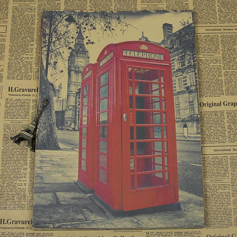 Alta calidad vintage papel Kraft Grande cabina de teléfono rojo en ...