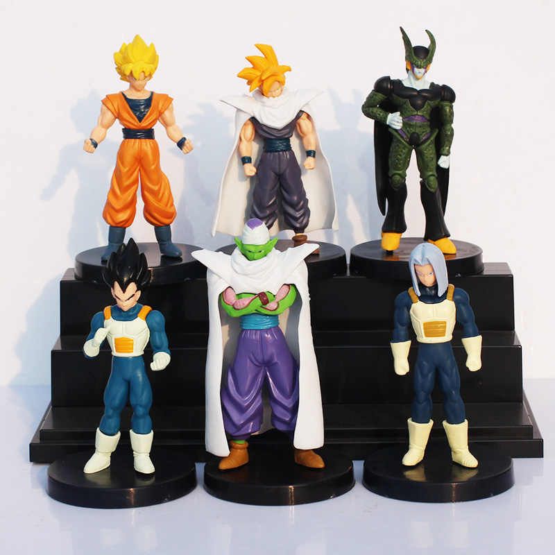 6 pçs/lote Anime Dragon Ball Z Goku Vegeta Trunks super saiyan Celular Móvel Conjunta PVC Action Figure Brinquedos Modelo Para presentes dos miúdos