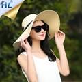 Sombrero de paja del verano de las mujeres grandes de ala ancha playa del sombrero del sol plegable del sombrero protector solar de protección UV sombrero de panamá hueso chapeu feminino