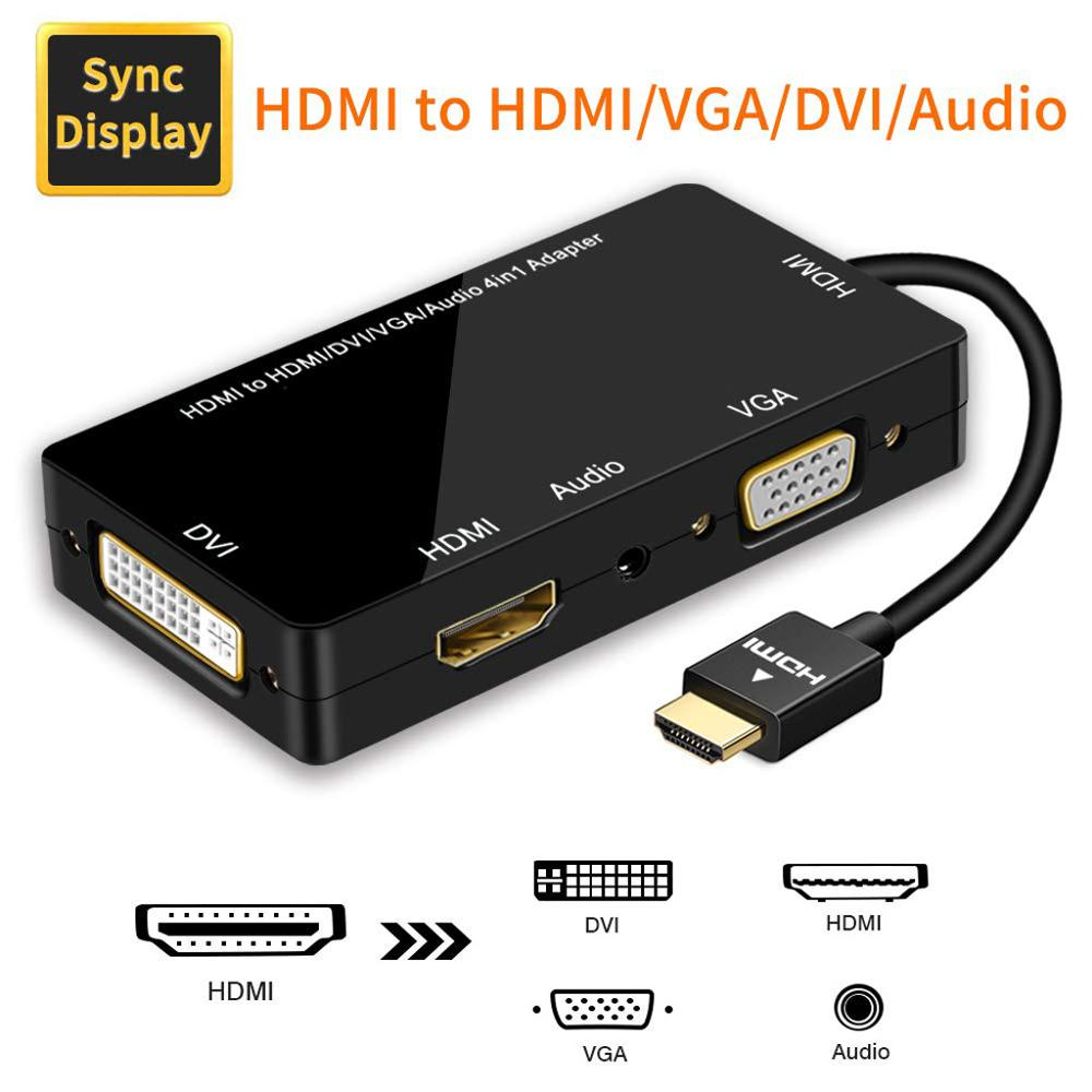 HDMI Splitter To HDMI DVI VGA Audio Converter Gold-plated Jack 4K For Laptop Computer HDTV PS3 Multiport 4-in-1 HDMI Adapter
