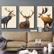Abstract Deer Forest Mountain Landscape Wall Art Canvas Painting Nordic Posters And Prints Wall Pictures For Living Room Decor(China)