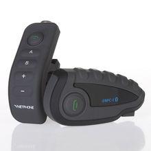 Envío Libre! V8 1.2 KM VNETPHONE Bluetooth Motocicleta Intercomunicador Del Casco BT Interphone Headset NFC RC Radio FM para 5 pilotos