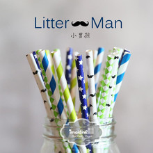 50pcs/lot Color creative wedding supplies children birthday party Christmas party decoration gift paper drinking straws