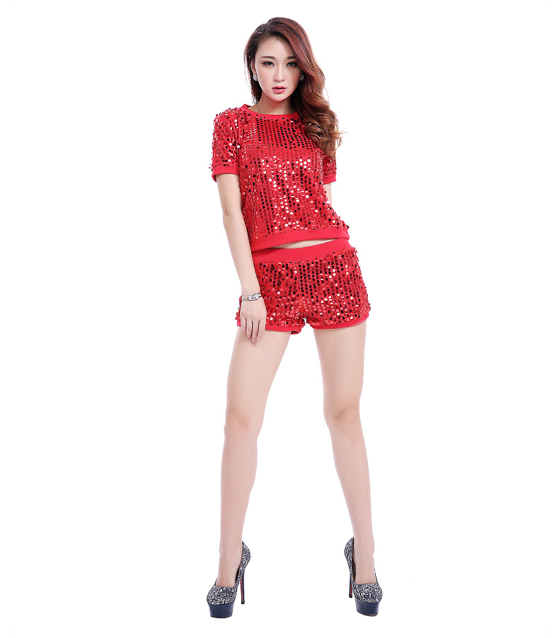 f05ad9df3ae7 Attractive Hip Hop Girls Sequin Two Piece Sets Sex Red Crop Top and Very  Mini Shorts Two Piece Night Club Wear Dancing Outfits-in Women's Sets from  Women's ...