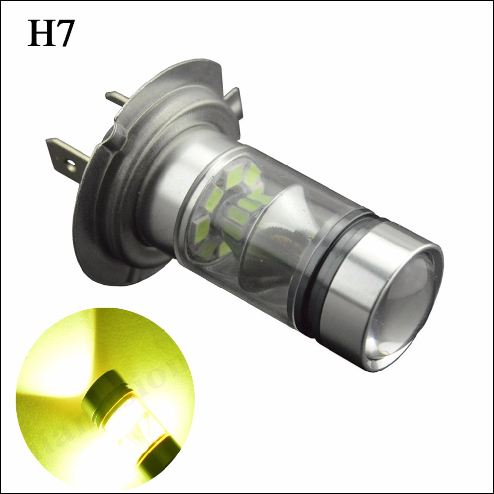 2x H7 12V 24V 3030 SMD <font><b>20</b></font> LED High Power Yellow <font><b>Auto</b></font> Driving Fog Lights Lamp <font><b>Bulbs</b></font> Car LED Head Lamp Light Car Styling image