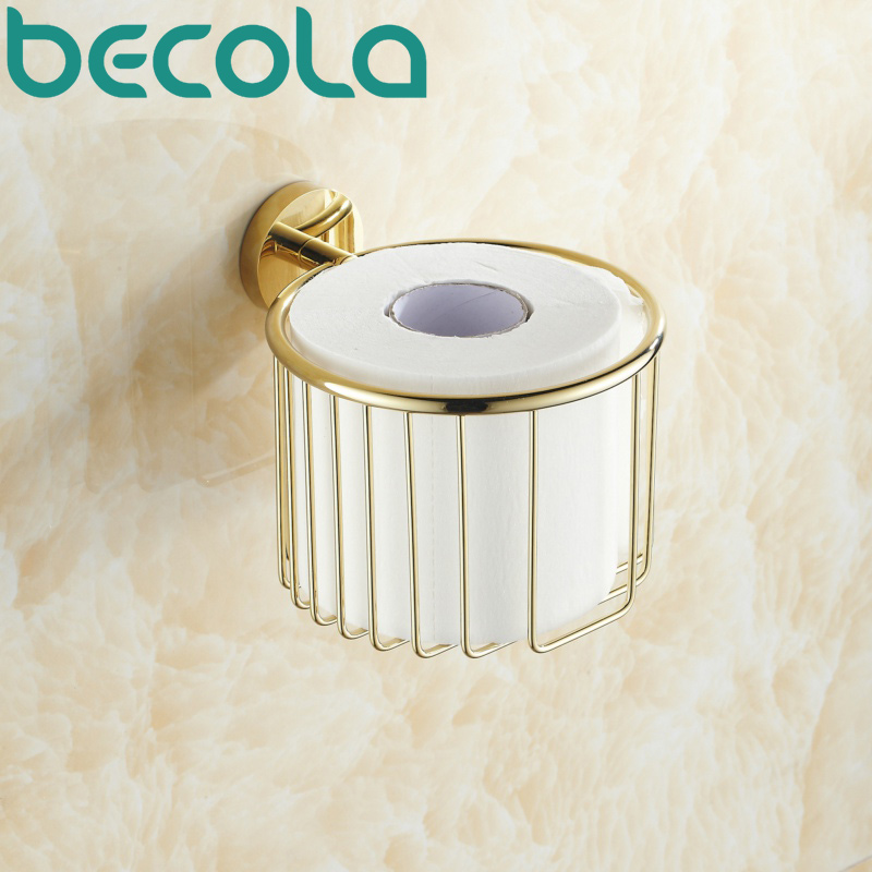 Free Shipping Wall Mounted Brass Gold Plated Finish Bathroom Accessories Toilet Paper Holder bathroom roll holder BR-6725 bathroom accessory antique brass wall mounted copper toilet paper roll holder free shipping aba037
