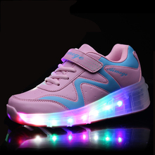 2017 New Fashion Children Outdoor Sports Sneakers LED Light Glowing Shoes Child Kids Sneakers Boys Girls