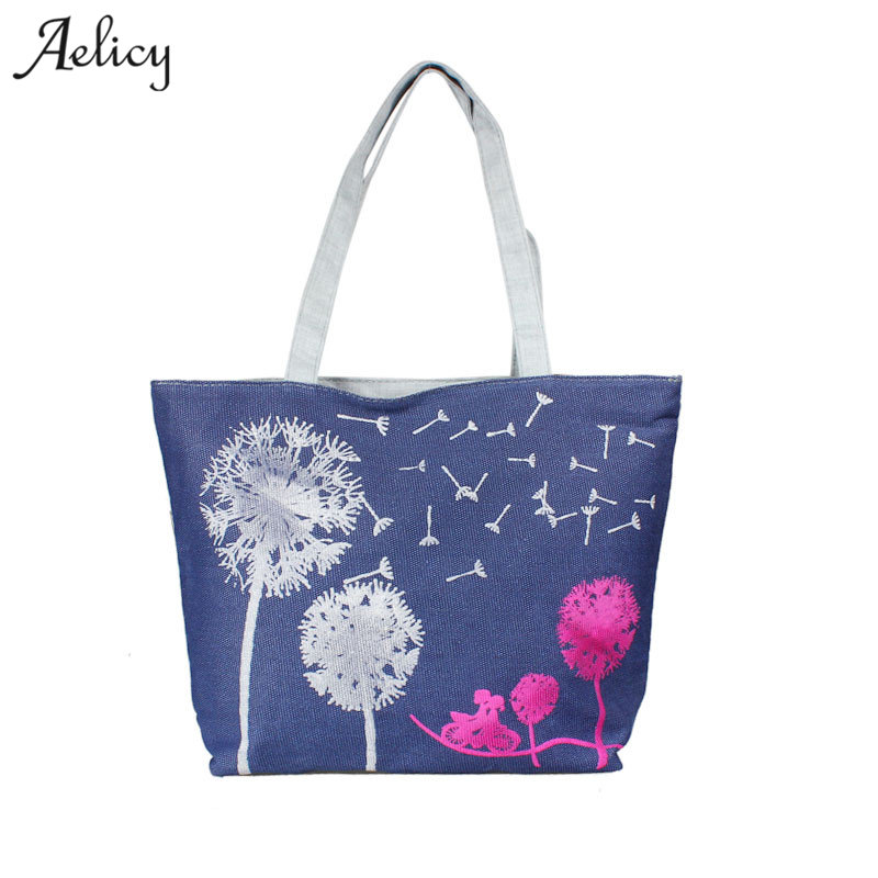 Women Canvas Handbag Printed Shoulder Bag Female Large Capacity Ladies Beach Bag Women Canvas Tote Shopping Handbags
