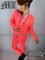 Модные тонкие мужские спортивные пиджаки цвета: оранжевый, розовый модные Для мужчин мужской костюмы для ночного клуба торжественное плать